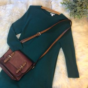 J. Jill Hunter Green Ribbed Sweater Dress